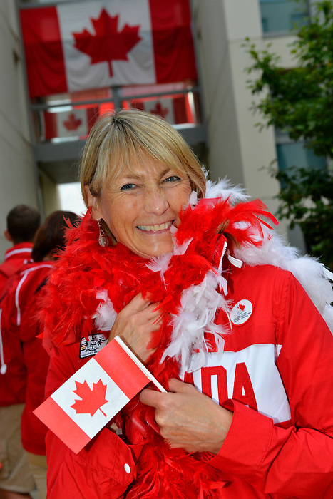 LONDON, ENGLAND 26/08/2012 - A member of Team Canada hams it up during a pep rally at Canada House at the London 2012 Paralympic Games. (Photo: Phillip MacCallum/Canadian Paralympic Committee)