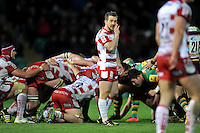 Greig Laidlaw of Gloucester Rugby has a word with his back-line. Aviva Premiership match, between Northampton Saints and Gloucester Rugby on November 27, 2015 at Franklin's Gardens in Northampton, England. Photo by: Patrick Khachfe / JMP