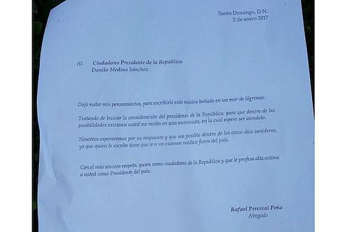 Misiva depositada en Palacio de la Presidencia por Percival Peña.