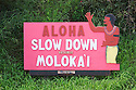 &quot;Aloha - Slow Down&quot; sign on airport road, Hoolehua, Molokai, Hawaii..