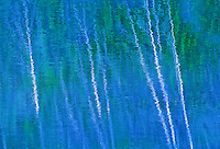 Aspen reflecting upon blue waters. A photographic image in the style of the impressionist painter Monet.