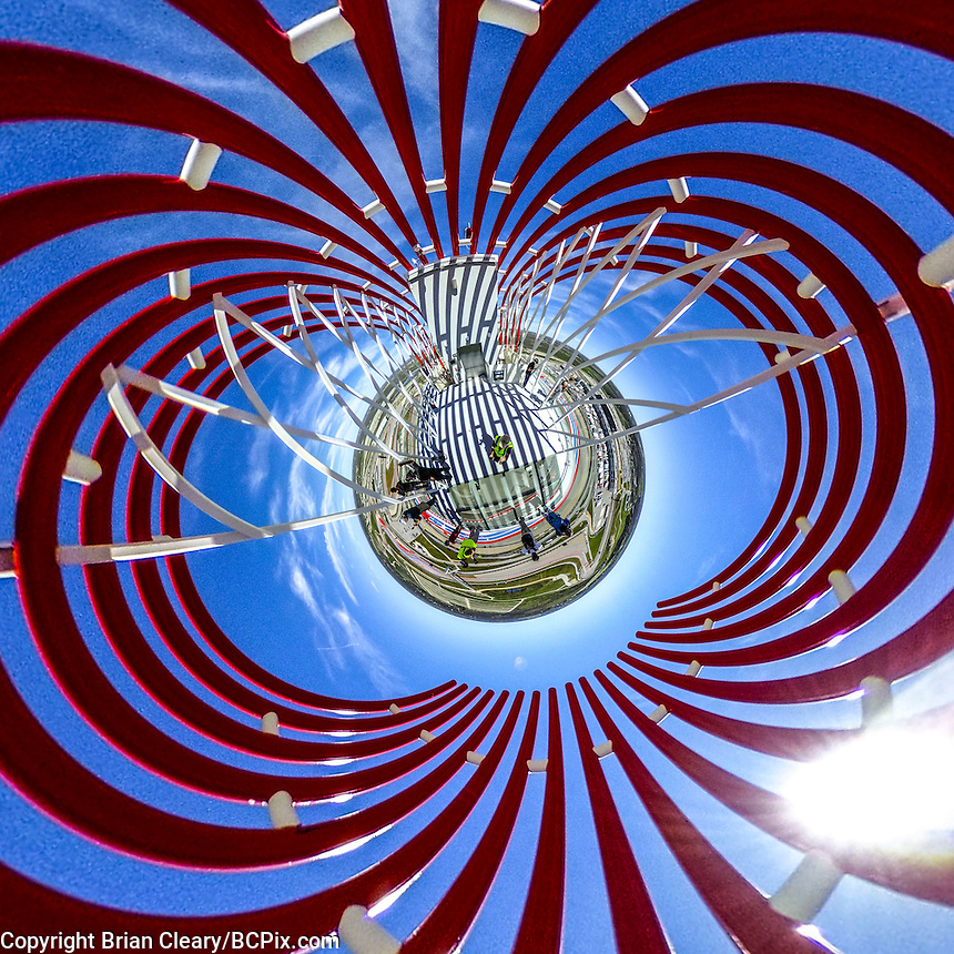little planet 360 degree view.  (Photo by Brian Cleary/ www.bcpix.com ) Observation deck at Circuit of the Americas, Austin, TX