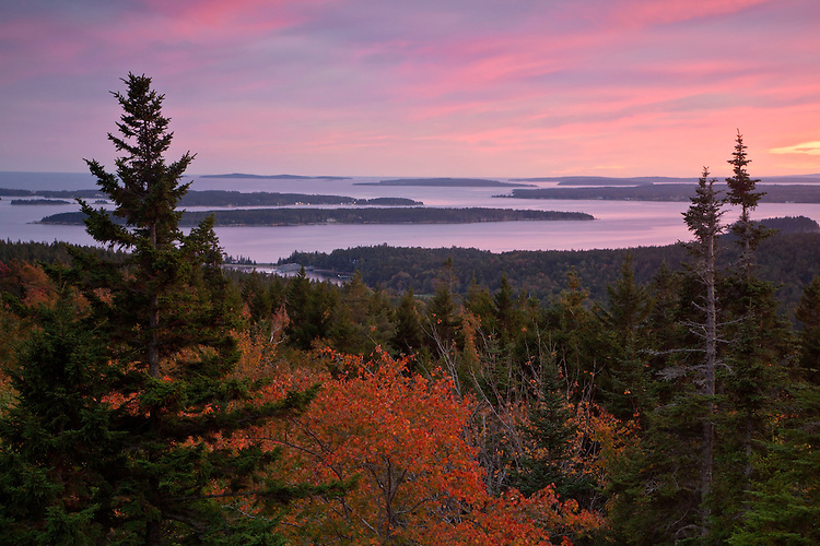 View of the Cranberry Islands from the summit of Day Mountain at Acadia National Park, Maine, USA