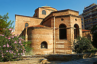 The 8th century Greek cross domed Basilica of The Hagia Sophia, γία Σοφία, orHoly Wisdom. A Palaeochristian and Byzantine Monuments of Thessaloniki, Greece. A UNESCO World Heritage Site.