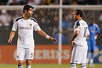 LA Galaxy's newly acquired forward Juan Pablo Angel (9) has words with team mate Landon Donovan (10). The LA Galaxy defeated the Philadelphia Union 1-0 at Home Depot Center stadium in Carson, California on  April  2, 2011....