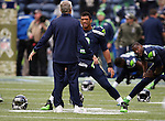Seattle Seahawks head coach Pete Carroll talks to quarterback Russell Wilson (3) before their game against the New York Giants at CenturyLink Field in Seattle, Washington on November 9, 2014. The Seahawks  beat the Giants 38-17.  ©2014. Jim Bryant Photo. All rights Reserved.