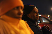 "Violence interrupter (l-r) Jerusha ""Rue"" Hodge, 42, and supervisor Ulysses ""US"" Floyd, an ex-high level Gangster Disciple, during a conversation with at risk youth participants in the Cease Fire program, a public health initiative that attempts to halt or stop gun violence across the city, in a parking lot described as ""neutral ground"" in Jackson Park on the South Side of Chicago, Illinois on February 3, 2017."