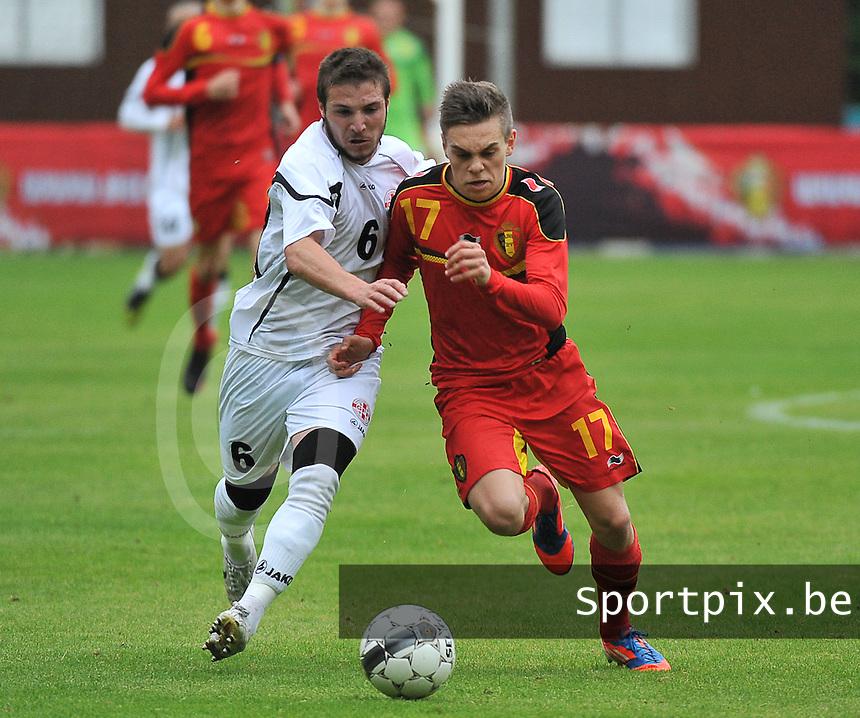 Georgia U19 - Belgium U19 : Leandro Trossard (17) and Daviti Ubilava (6)<br /> foto DAVID CATRY / Nikonpro.be
