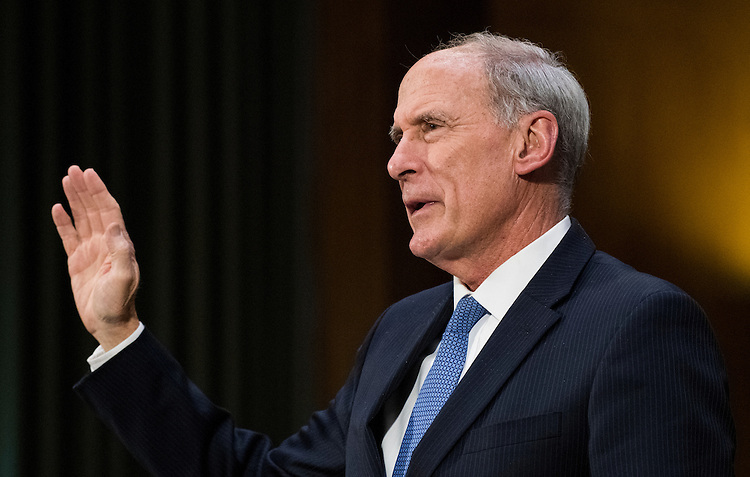 UNITED STATES - FEBRUARY 28: Former Sen. Dan Coats, R-Ind., nominee to be Director of National Intelligence, is sworn in before testifying during his confirmation hearing in the Senate Select Committee on Intelligence on Tuesday, Feb. 28, 2017. (Photo By Bill Clark/CQ Roll Call)