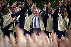 2010 Dillon Pep Rally--Brian Kelly and the football team sing the Alma Mater...Photo by Matt Cashore/University of Notre Dame