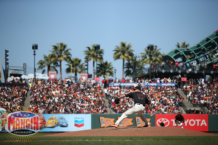 SAN FRANCISCO, CA - MAY 2:  Tim Hudson #17 of the San Francisco Giants pitches against the Los Angeles Angels during the game at AT&T Park on Saturday, May 2, 2015 in San Francisco, California. Photo by Brad Mangin