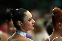 "Anna Bessonova of Ukraine smiles during opening ceremony at 2008 World Cup Kiev, ""Deriugina Cup"" in Kiev, Ukraine on March 23, 2008."
