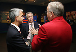 27 August 2006: Philip Anschutz (c), MLS investor and 2006 Hall of Fame inductee, with Sunil Gulati (l), president of the U.S. Soccer Federation, and Hank Steinbrecher (r), 2005 Hall of Fame inductee, during the opening of a new exhibit commemorating the first ten years of Major League Soccer. The President's Reception and Dinner were held at the National Soccer Hall of Fame in Oneonta, New York the evening before the 2006 Induction Ceremony.