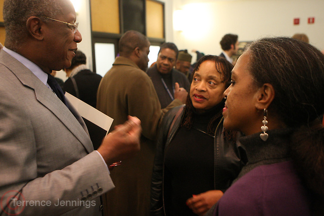 6 January 2011- Harlem, New York- l to r: Howard Dodson, Dr. Deb Willis, and Malika Adero at the Opening for The State of African American and African Diaspora Studies Conference held at the The Schomburg Center for Research in Black Culture on January 6, 2011 in the Village of Harlem. Photo Credit Terrence Jennings