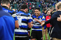 Ben Tapuai of Bath Rugby has a laugh after the match. Aviva Premiership match, between Bath Rugby and Saracens on December 3, 2016 at the Recreation Ground in Bath, England. Photo by: Patrick Khachfe / Onside Images