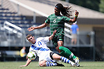 31 August 2014: Duke's Nick Palodichuk (11) and Stetson's John Bentham (6). The Duke University Blue Devils hosted the Stetson University Hatters at Koskinen Stadium in Durham, North Carolina in a 2014 NCAA Division I Men's Soccer match. Duke won the game 8-2.