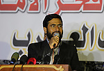 "Mushir Al Masri, a Hamas MP and media spokesman, gives a speech during a protest to condemn the decision of an Egyptian court as Hamas a ""terrorist organization"" in Jabalia in the northern Gaza Strip, on February 28, 2015. An Egyptian court declared Hamas a ""terrorist organization"", further isolating the rulers of the Gaza Strip who once found a warm welcome under the country's past Islamist government. The ruling described Hamas as targeting both civilians and security forces inside Egypt's restive Sinai Peninsula and aiming to harm the country. Photo by Mohammed Asad"
