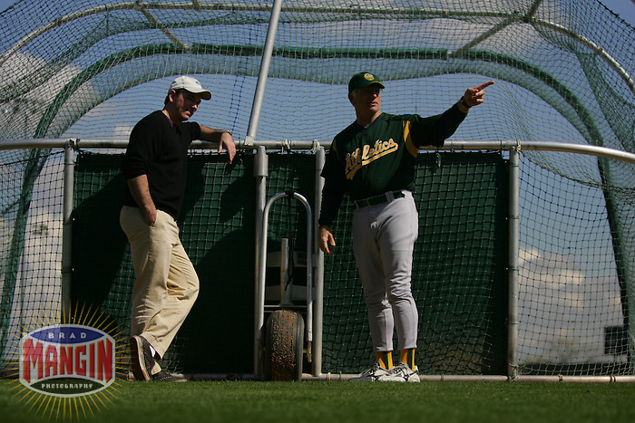 Billy Beane and Ken Macha. Baseball: Oakland Athletics spring training camp at Papago Park. Phoenix, AZ 2/24/2005 MANDATORY CREDIT: Brad Mangin/Sports Illustrated