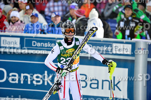 11.11.2012, Levi Black, Levi, FIN, FIS Ski Alpin Weltcup, Slalom, Herren, 2. Durchgang, im Bild Reinfried Herbst (AUT) // Reinfried Herbst of Austria reacts after 2nd run of mens Slalom of FIS ski alpine world cup at Levi Black course in Levi, Finland on 2012/11/11. EXPA Pictures © 2012, PhotoCredit: EXPA/ sportbild.se/ Nisse Schmidt..***** A11ENTION - OUT OF SWE *****