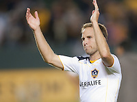 CARSON, CA – NOVEMBER 7: LA Galaxy defender Eddie Lewis (6) celebrates after a playoff soccer match at the Home Depot Center, November 7, 2010 in Carson, California. Final score LA Galaxy 2, Seattle Sounders 1.