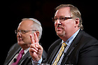 Sept. 4, 2012; Panelist Pastor Rick Warren talks during the kick-off event for the 2012-13 Notre Dame Forum: Conviction vs. Compromise: Being a Person of Faith in a Liberal Democracy at the DeBartolo Performing Arts Center. Left, is Rabbi David Saperstein. Photo by Barbara Johnston/University of Notre Dame