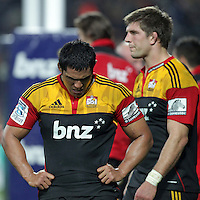 Chiefs' Tanerau Latimer, left and Michael Fitzgerald look despondent after losing to the Crusaders in a Super Rugby match, Waikato Stadium, Hamilton, New Zealand, Friday, July 06, 2012.  Credit:SNPA / David Rowland