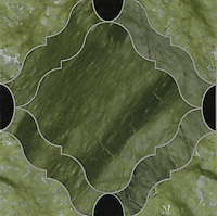 Grace, a stone water jet mosaic, shown in Nero Marquina and Chartreuse, is part of the Ann Sacks Beau Monde collection sold exclusively at www.annsacks.com
