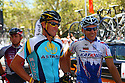 Lance Armstrong waits with Robbie McEwen before the start of Stage 6 of the Tour Down Under Pro Tour race on Sunday, January 25, 2009 in Adelaide Australia