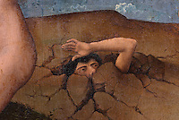 One of the damned trying to escape from hell, from the open panels of the polyptych altarpiece, 1446-52, by Rogier van der Weyden, 1399-1464, commissioned by Nicolas Rolin in 1443, in Les Hospices de Beaune, or Hotel-Dieu de Beaune, a charitable almshouse and hospital for the poor, built 1443-57 by Flemish architect Jacques Wiscrer, and founded by Nicolas Rolin, chancellor of Burgundy, and his wife Guigone de Salins, in Beaune, Cote d'Or, Burgundy, France. The altarpiece was originally in the Chapel, but is now in the museum. The panels were only opened to patients during holy days. The hospital was run by the nuns of the order of Les Soeurs Hospitalieres de Beaune, and remained a hospital until the 1970s. The building now houses the Musee de l'Histoire de la Medecine, or Museum of the History of Medicine, and is listed as a historic monument. Picture by Manuel Cohen