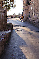 Batei Mahase Street along the exterior walls of the Old City of Jerusalem, near the Western Wall.