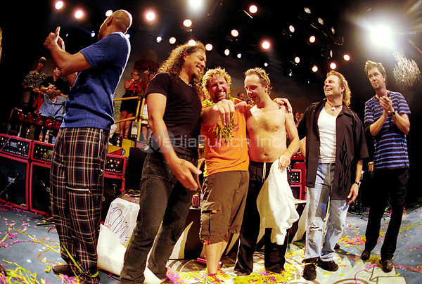 Sammy Hagar with Lars Ulrich, Kirk Hammet, and Michael Anthony <br /> May 7, 2002<br /> **NO GERMANY**<br /> &copy; Jay Blakesberg / MediaPunch