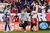 Bradley Wright-Phillips (99) of the New York Red Bulls leaves the field after being injured. The New York Red Bulls defeated FC Dallas 1-0 during a Major League Soccer (MLS) match at Red Bull Arena in Harrison, NJ, on September 22, 2013.