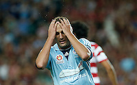 Sydney FC Ranko Despotovic react during his A-League match against Wanderers in Sydney, March 8, 2014. VIEWPRESS/Daniel Munoz EDITORIAL USE ONLY