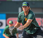 21 July 2016: Vermont Lake Monsters pitcher A.J. Puk warms up prior to a game against the Hudson Valley Renegades at Centennial Field in Burlington, Vermont. The Lake Monsters edged out the Renegades 4-3 in NY Penn League play. Mandatory Credit: Ed Wolfstein Photo *** RAW (NEF) Image File Available ***