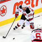 9 January 2010: New Jersey Devils' defenseman Johnny Oduya in action against the Montreal Canadiens at the Bell Centre in Montreal, Quebec, Canada. The Devils edged out the Canadiens 2-1 in overtime. Mandatory Credit: Ed Wolfstein Photo