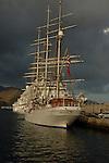 Tall masted ship Christian Radich docked in Santa Cruz harbour, Tenerife, Canary Islands.