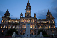 City Chambers illuminated at night, Glasgow, Scotland