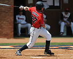 Mississippi's Taylor Hashman (27) grounds into a double play  vs. St. John's during an NCAA Regional game at Davenport Field in Charlottesville, Va. on Sunday, June 6, 2010.