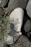 Abandoned, discarded shoe on beach, Tenerife, Canary Islands.