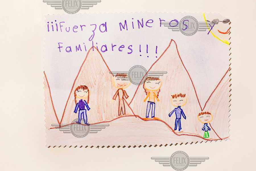 Child's drawing of the San Jose mine in Chile where 33 miners were trapped for 69 days.