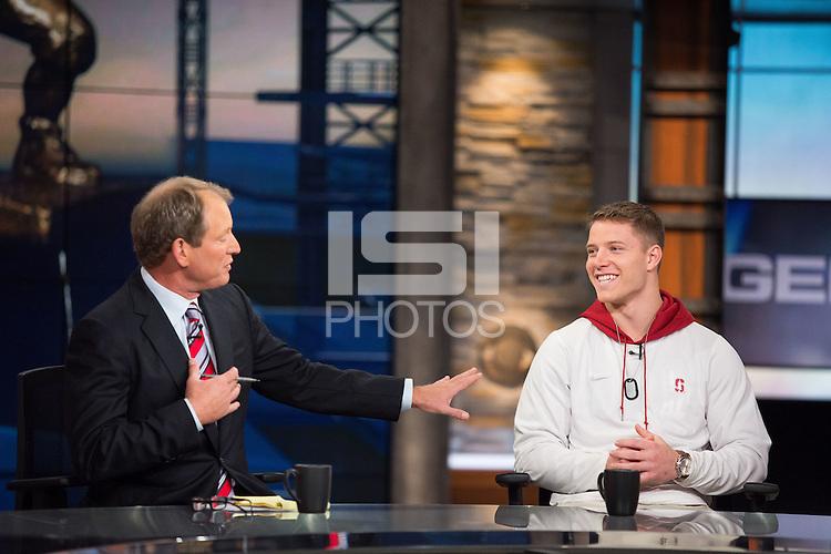 NEW YORK, NY - DECEMBER 12, 2015 - Stanford Running Back Christian McCaffrey, Heisman trophy candidate, 2015.