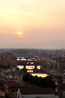 Florence - sunset over the River Arno and Ponte Vecchio, Tuscany, Italy