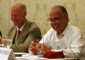 NCSU coach Tom O'Brien and Don Shea share a laugh at the 9th annual Bill Dooley Pigskin Preview on Thursday, July 21, 2011. Photo by Al Drago.