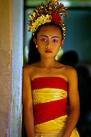 Young Balinese Dancer at school cultural performance, Peliatan, Bali, Indonesia