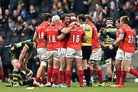 Marcelo Bosch of Saracens celebrates with team-mates at the final whistle. Aviva Premiership match, between Northampton Saints and Saracens on April 16, 2017 at Stadium mk in Milton Keynes, England. Photo by: Patrick Khachfe / JMP