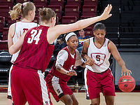 Stanford, CA., March 25, 2013,-- Stanford Women's basketball players Mikaela Ruef, Tess Picknell, Jasmine Camp  and Amber Orrange during team practice for there second round NCAA 2013 basketball championship game against Michigan on Monday, March 25, 2013, at Maples Pavilion.  ( Norbert von der Groeben )