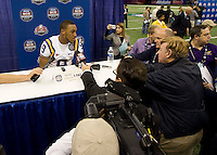 Jordan Jefferson of LSU talks with the reporters during BCS Media Day at Mercedes-Benz Superdome in New Orleans, Louisiana on January 6th, 2012.