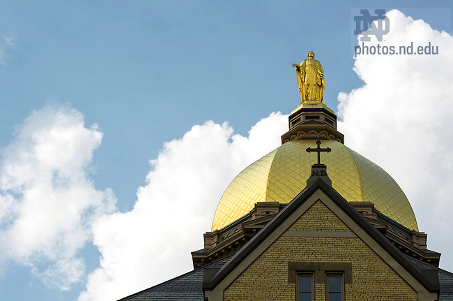 June 9, 2014; Statue of Mary on the Golden Dome atop the Main Building. Photo by Barbara Johnston/University of Notre Dame