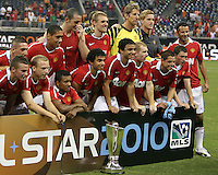 Players of Manchester United during the 2010 MLS All-Star match against the MLS All-Stars at Reliant Stadium, on July 28 2010, in Houston, Texas. ManU won 5-2.