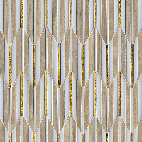 Fletcher, a waterjet mosaic, shown in Ironwood ceramic, Gold glass, and Island Fog glass, is part of the Altimetry Collection for New Ravenna.